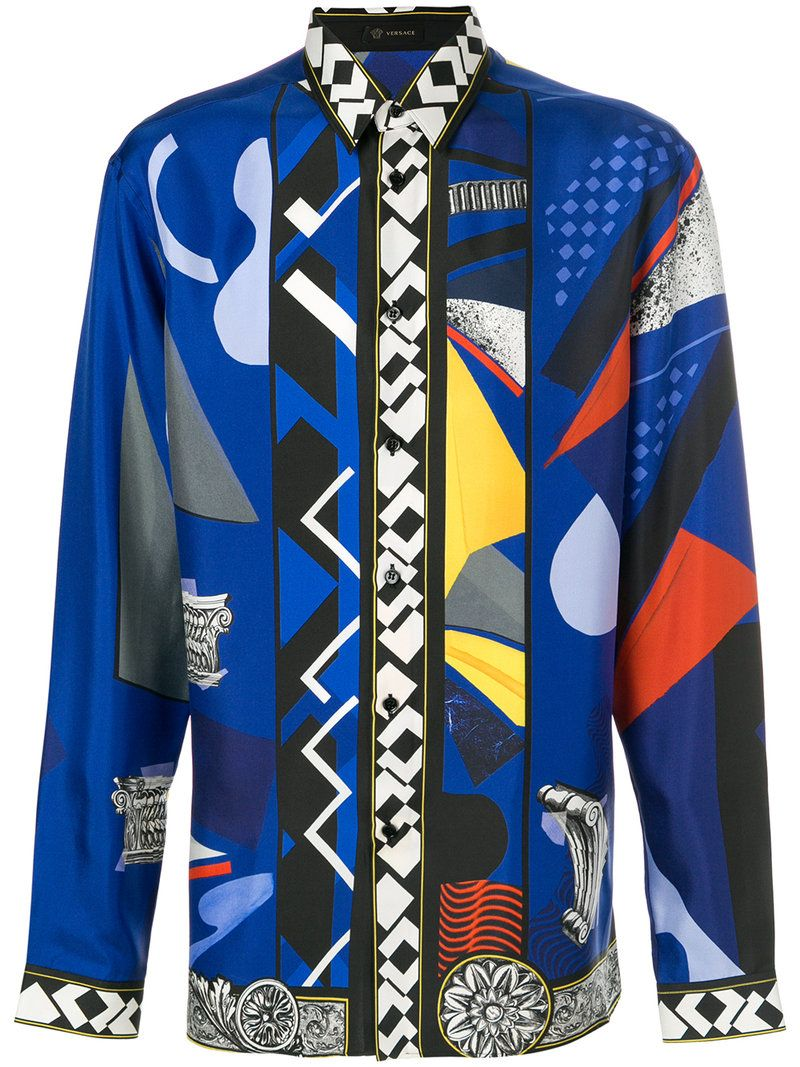 Versace Versace Jp Collage Print Shirt Versace Cloth