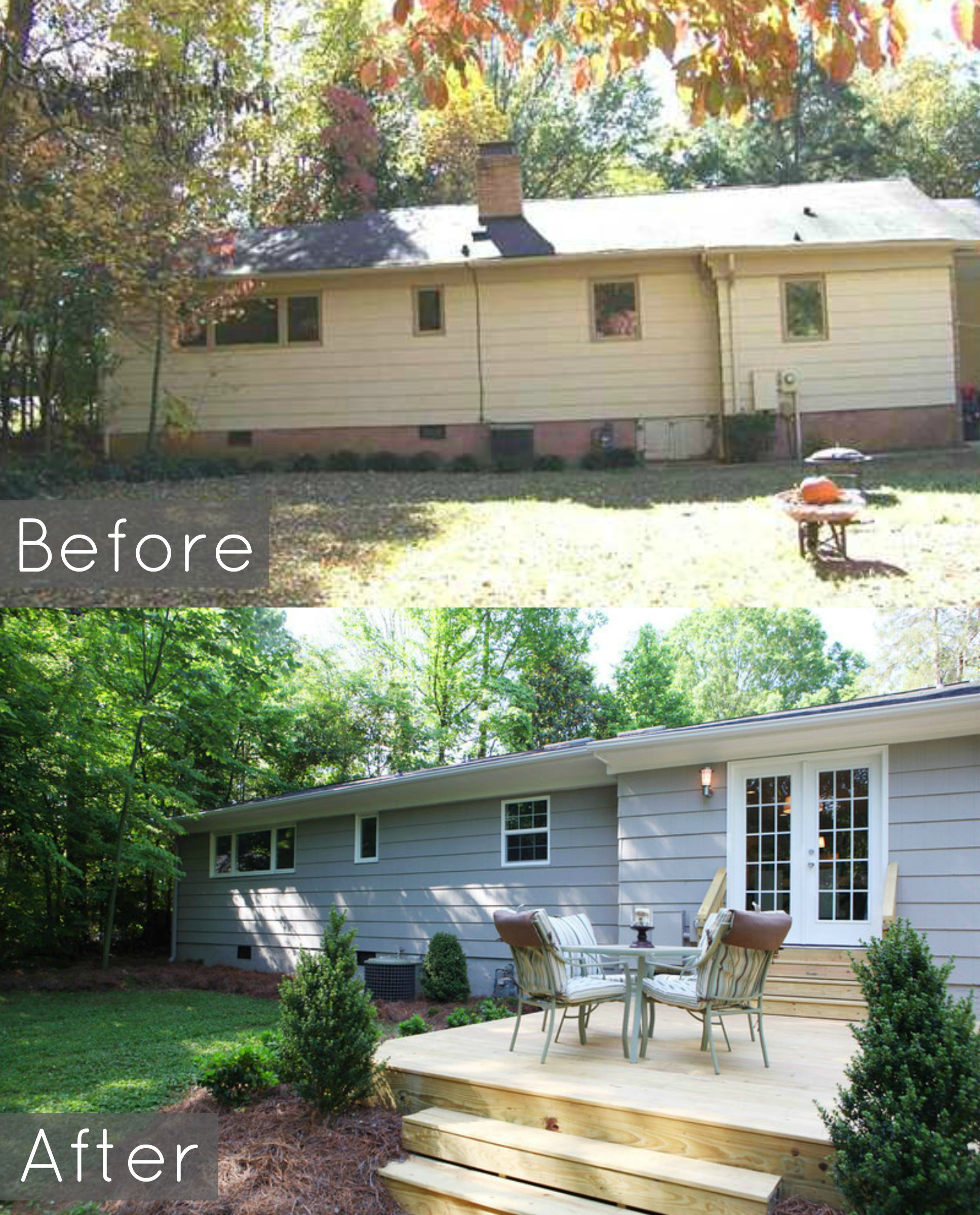 before and after pic of ranch backyard painted ranch new deck