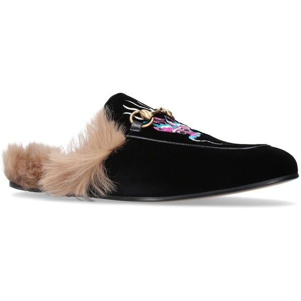 090560f5 Gucci Princetown Velvet Dragon Slide Loafers ($850) ❤ liked on ...