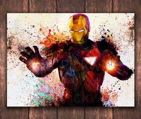 Avengers Watercolor: The Avengers Marvel Comics A3 Watercolor Digital Poster
