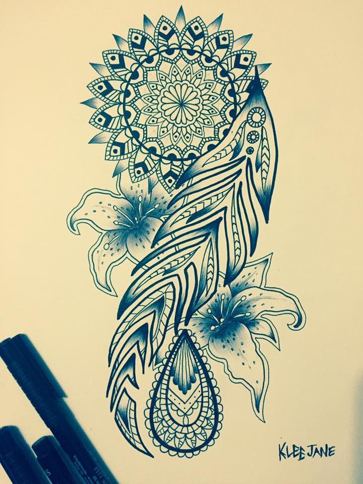 Feather Mandala Tattoo Design Illustration By Klee Jane Art Http Www Retroj Am Mandala Tattoos Mandala Tattoo Mandala Tattoo Design Feather Tattoos