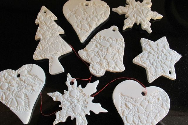 Doily imprinted Christmas decorations by yarnroundhook, via Flickr