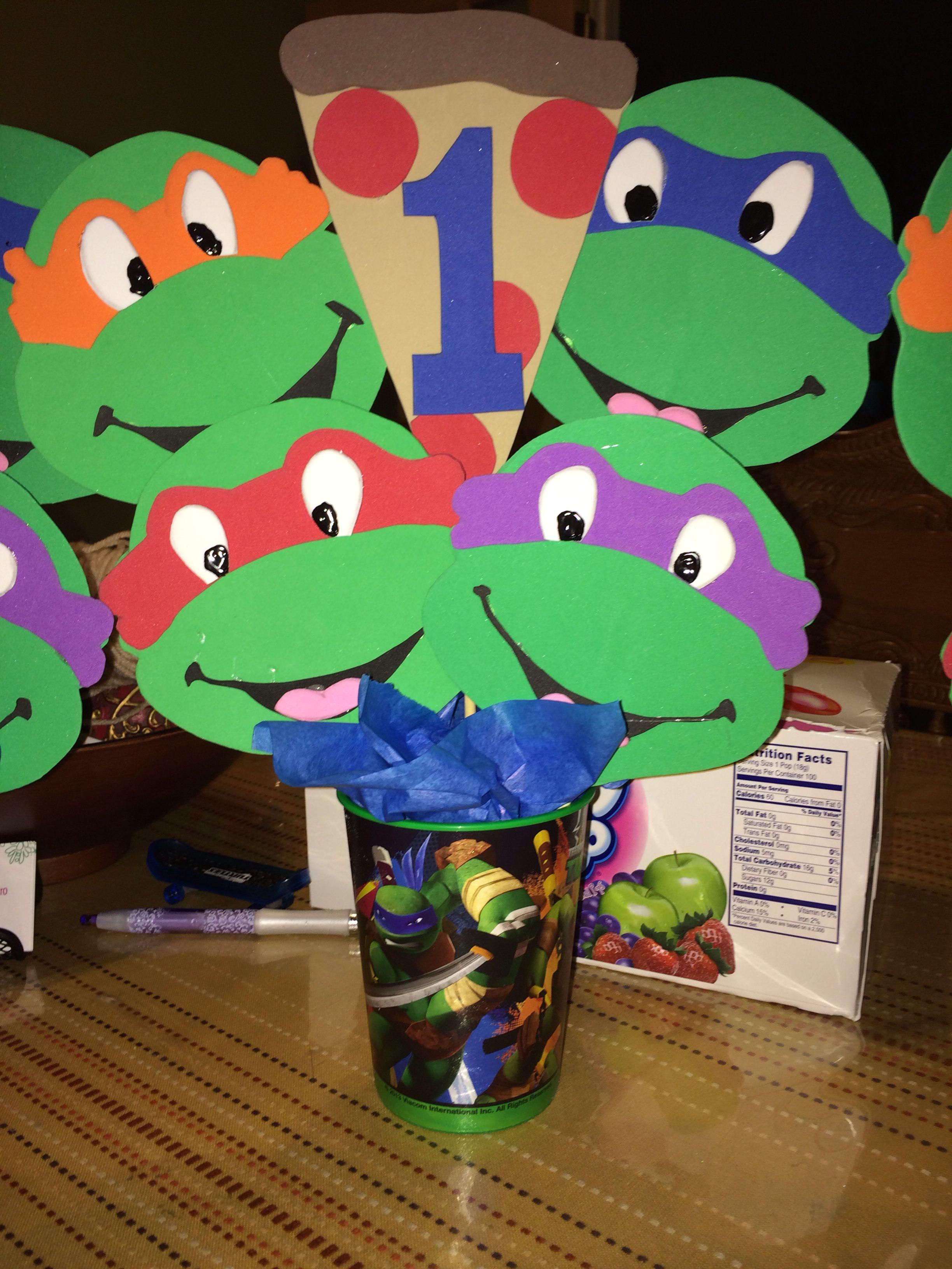 Ninja Turtle Birthday Centerpiece Ninja Turtles Birthday Party Turtle Birthday Parties Turtle Theme Party