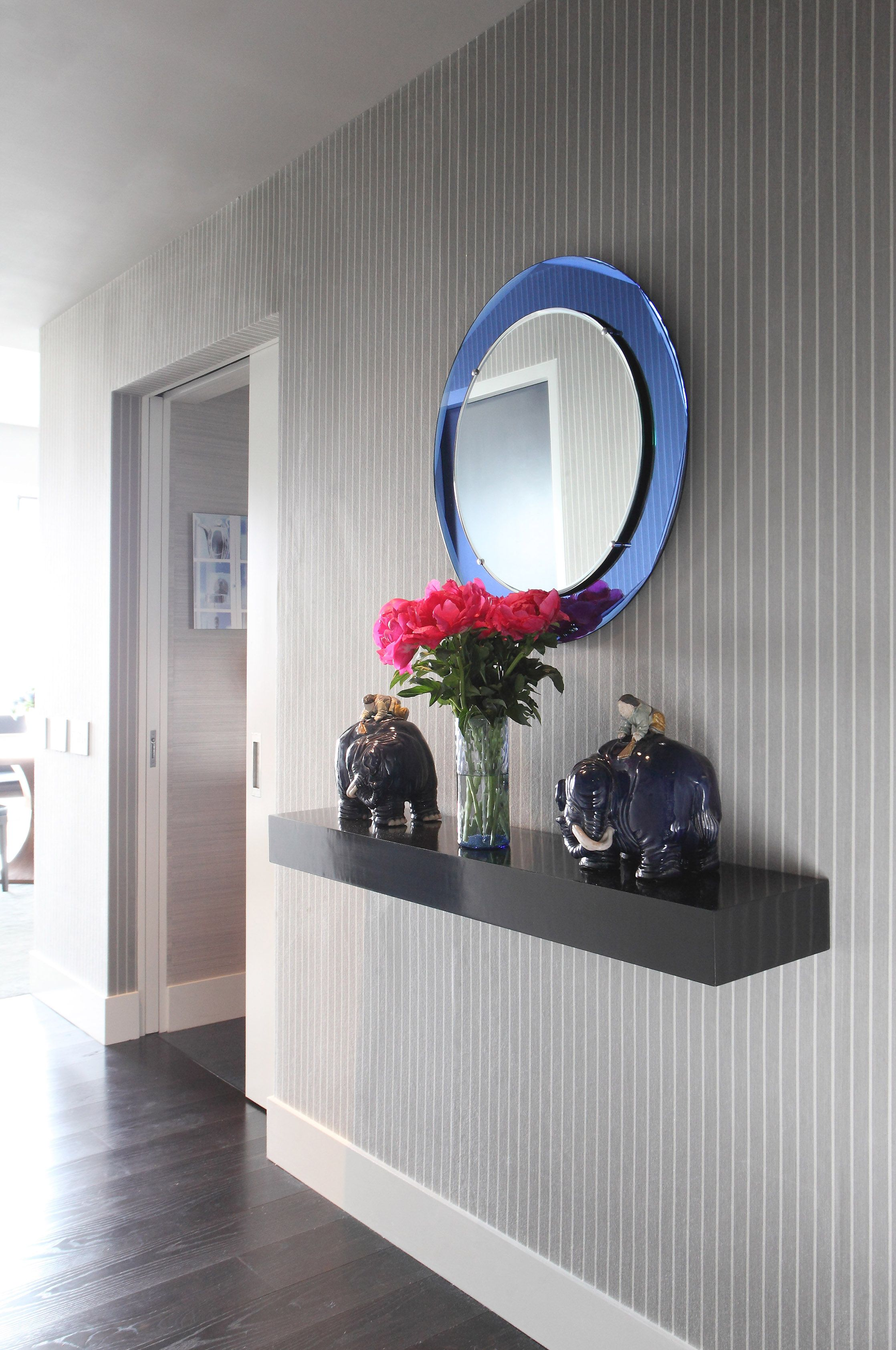 Hallway furniture for small space  Scott Sanders creates a special moment in this small hallway with a