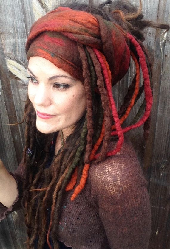 The Rose Of Samhain Felted Dread Wrap Gypsy Headscarf Felted