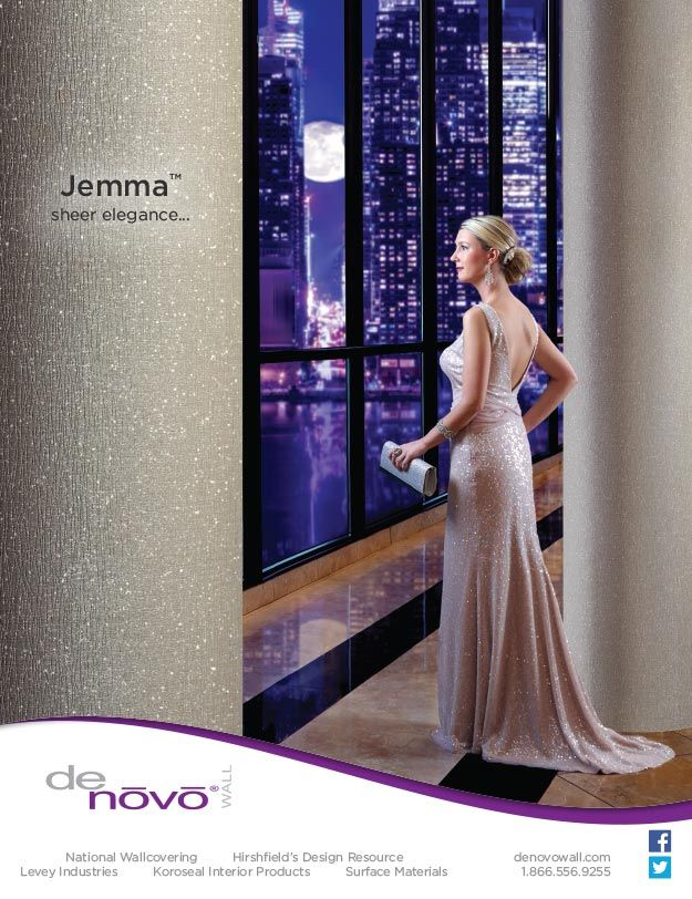 DeNovo Walls JemmaTM Commercial Wallcovering Advertisement In The Interior Design Magazine June 2015 Issue