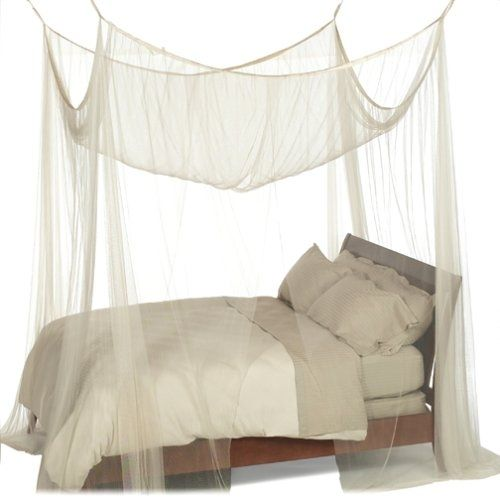 4 Post Bed Canopy In Ecru Color Mesh Fabric Fits All Bed Sizes Bed Sizes 4 Post Bed Canopy