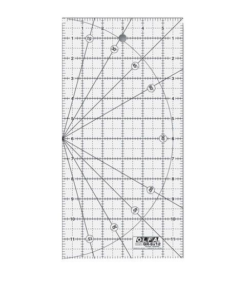 QR-6x12 6 Inch x 12 Inch Frosted Acrylic Olfa Non Slip Ruler