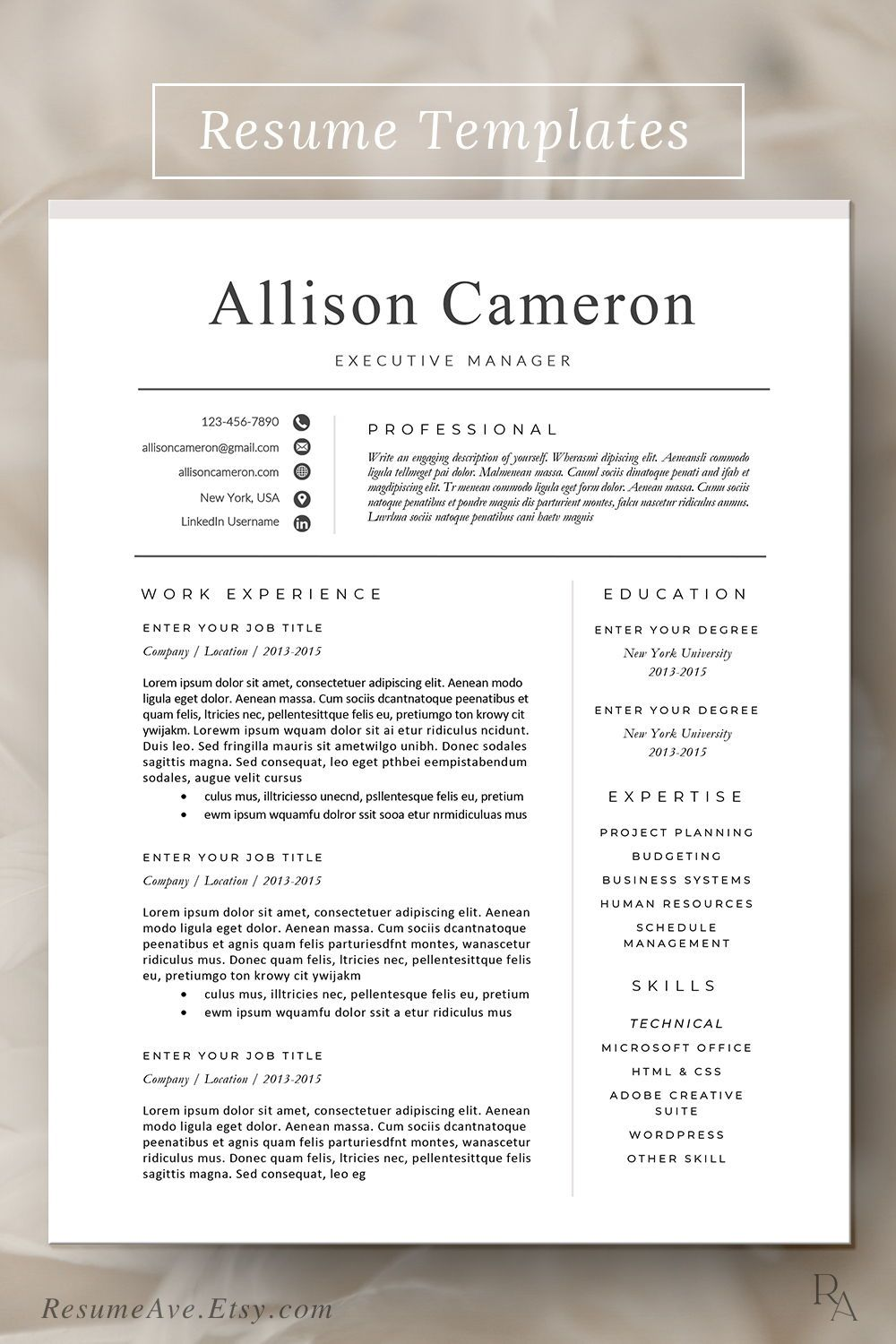 Teacher resume template with pink header simple resume
