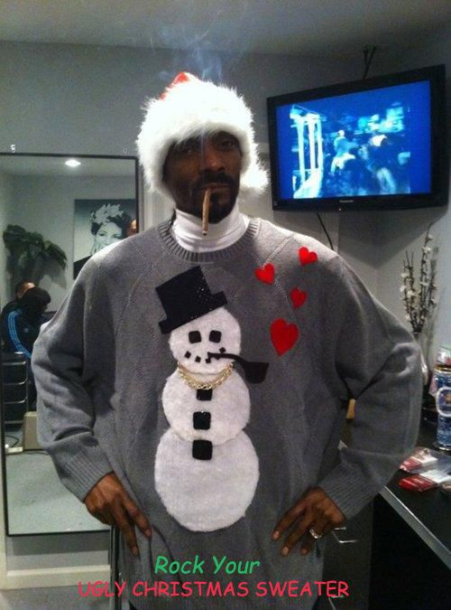 Snoop Dogg I Mean Snoop Lion Rocks An Ugly Christmas Sweater