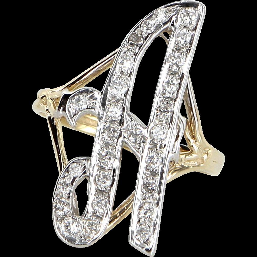 11c3ebbe4b932 Large Letter A Diamond Initial Script Ring Vintage 14 Karat Gold ...