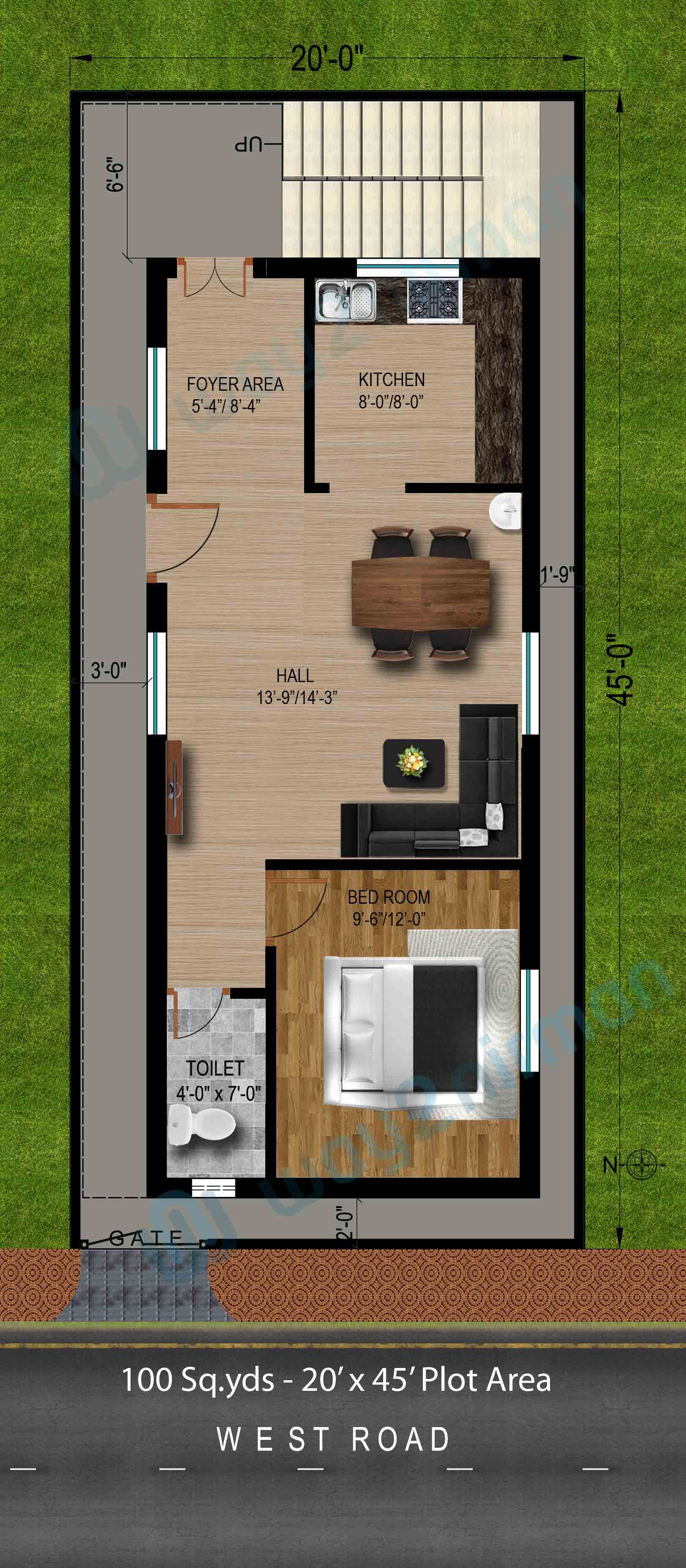 100 sqyds20x45 sqft west face house 1bhk floor planjpg