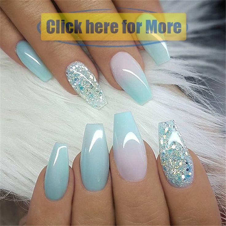 Winter Acrylic Green and Blue Glitter Coffin Nails From Nature – nail it