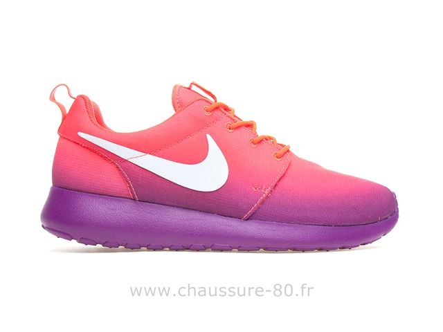 Nike femmes Roshe Run Imprimer Rose / Violet Custom Roshe Run Shoes