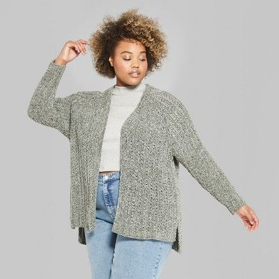 93accc822a9b Women s Plus Size Long Sleeve Chenille Open Cardigan - Wild Fable 4X Sea  Grass (Blue