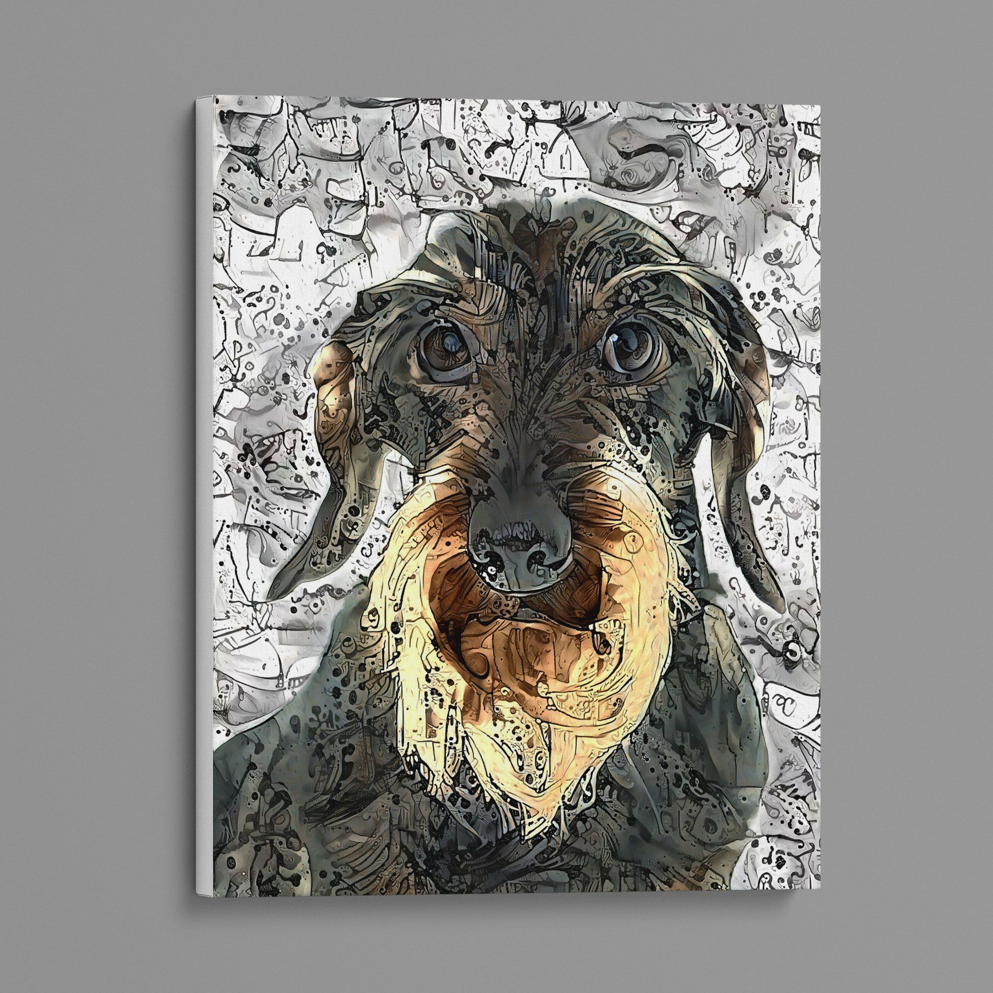 Abstract Wire Haired Dachshund Ink Art Canvas Print Dog Lovers