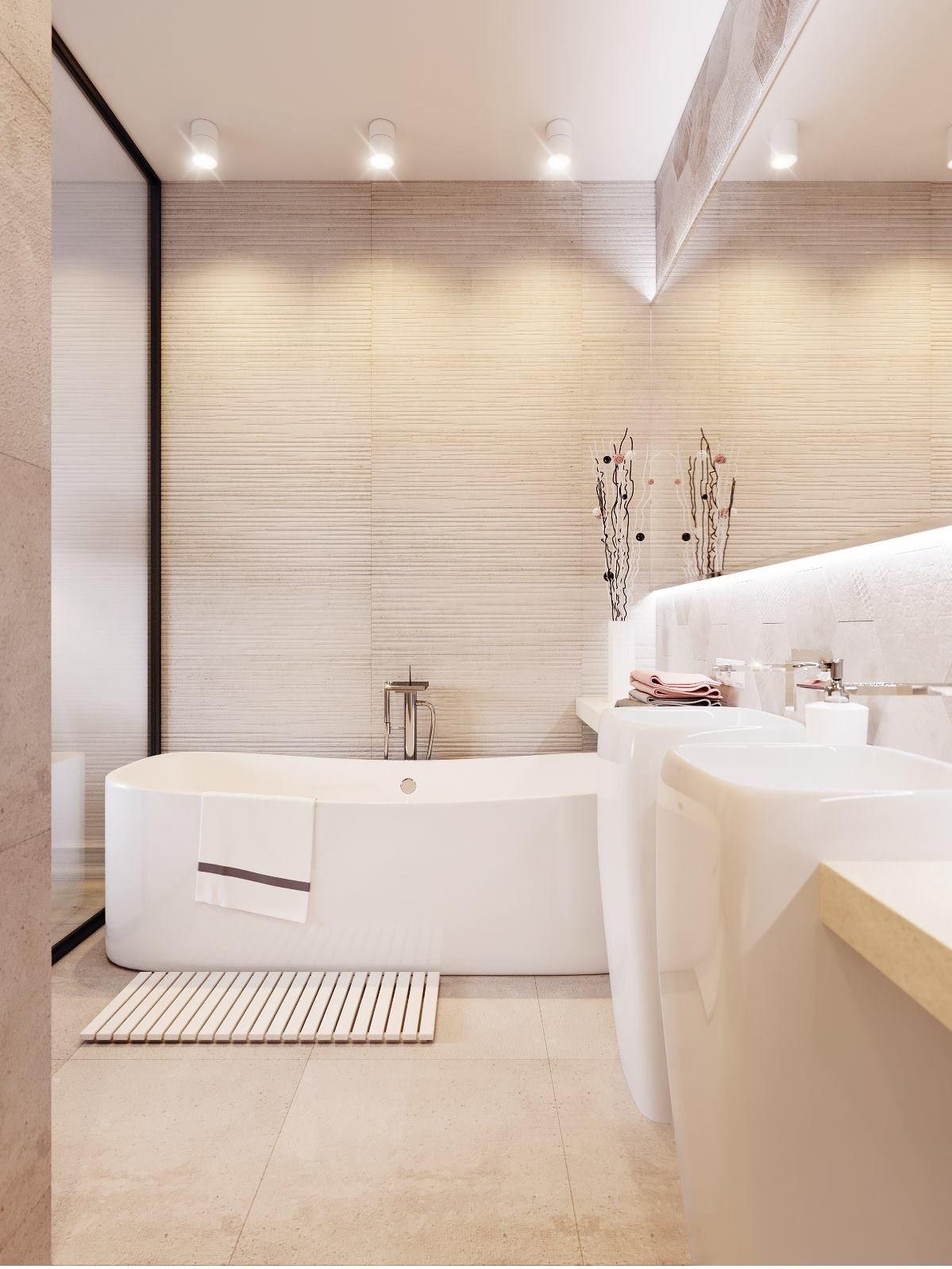 Bathroom In Beige And White Minimalist Toilets Bathroom