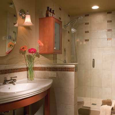 Contemporary Art Sites Retro Redo This homeowner wanted a nostalgic style with a contemporary twist Trumpet shaped Bathroom Shower DesignsBathroom