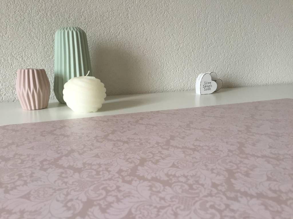 Bureau onderlegger in Taupe roze met witte barok bloemen