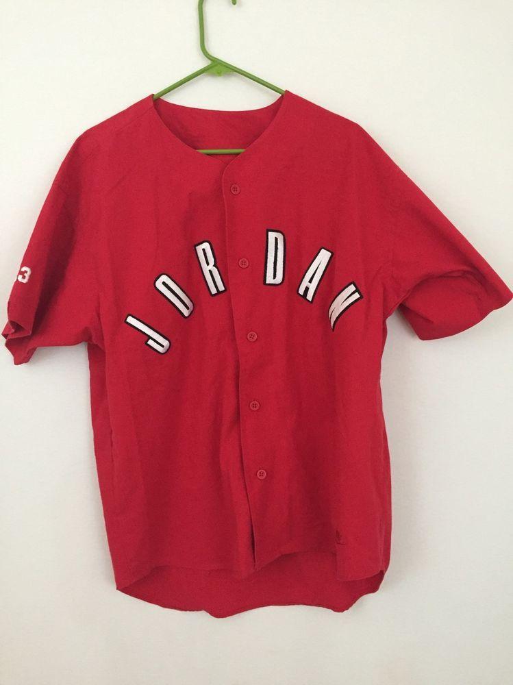 442df4289bfa7c Nike Jordan Jersey Button Front Short Sleeved Baseball Red White Black Sz  Medium