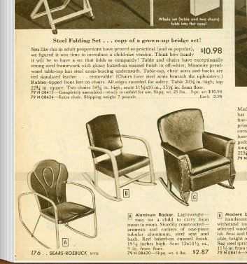 1948 Sears Christmas Catalog Of Vintage Metal Lawn Chair.