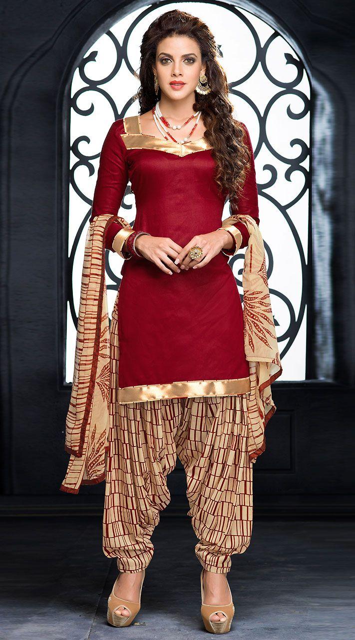 da96f388ff Lovely Golden Border Dark Red Short Kameez With Patiala Salwar ...