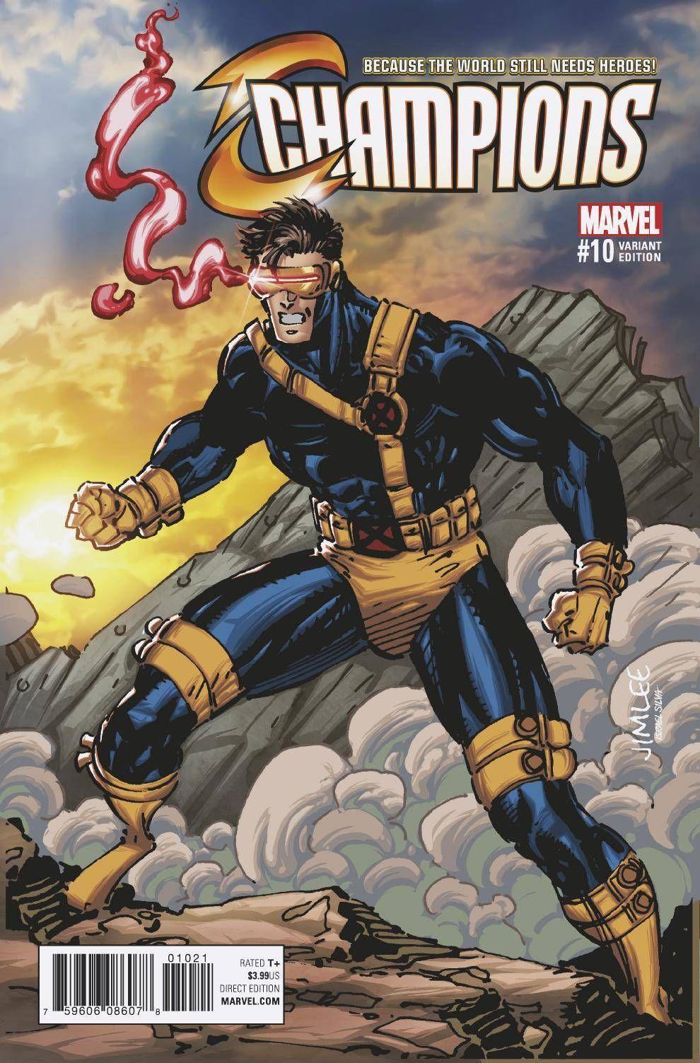 Champions 10 xmen card var Jim lee art, Comic art, Marvel