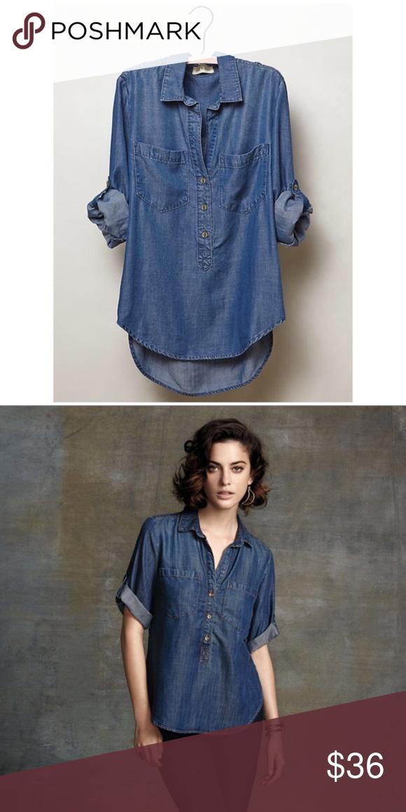 de3fe4bee5c5 Anthro Cloth & Stone Chambray Tencel Popover Shirt Anthropologie Cloth  & Stone Chambray Popover