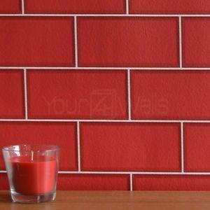 Metro Tile Brick Tile Effect Wallpaper In Red