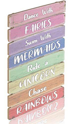 Something Unicorn – Beautiful Pastel Color Inspirational Wall Hanging Sign for Bedroom, Nursery, Dorm, Girls Room Decor. Amazing Gift for Unicorn, Mermaid, Fairy, Rainbow Lovers, 12×17 in, Rainbow