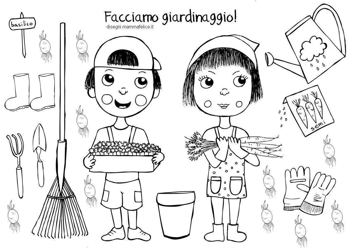 Disegno Da Colorare Bambini Orto Giardino Giardinaggio Orto
