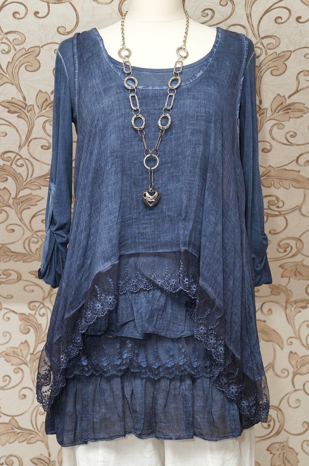 3cd1a2031cd STUNNING BLUE 2PIECE TUNIC DRESS QUIRKY ITALIAN LAGENLOOK LAYERING TOP ONE  SIZE