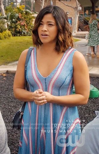 Jane S Blue Dress With Red And White Stripes On Jane The Virgin Jane The Virgin Virgin Hair Color Best Virgin Hair