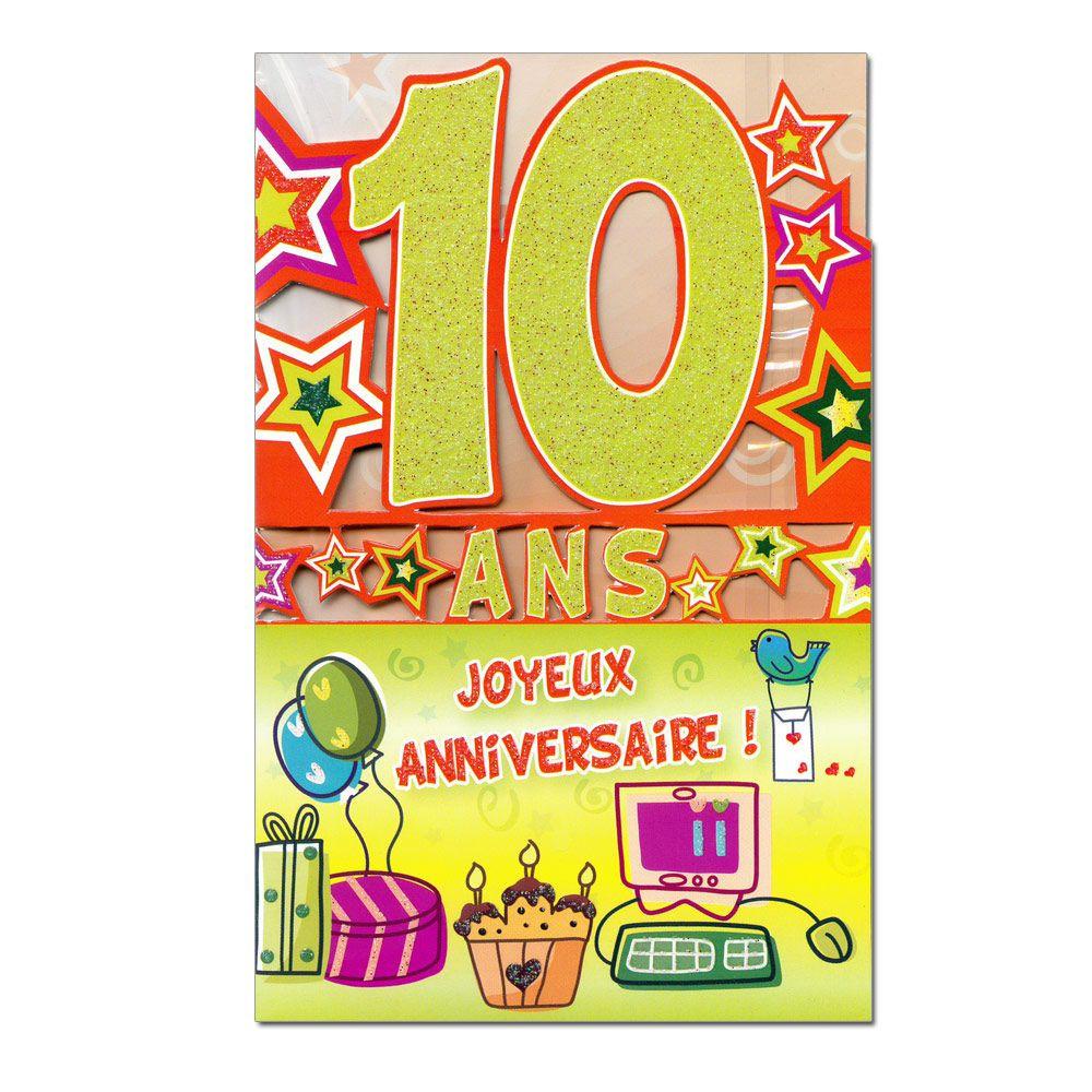 Carte D'invitation Anniversaire Fille 10 Ans Unique Joyeux Anniversaire 10 Ans Garçon (Dengan ...