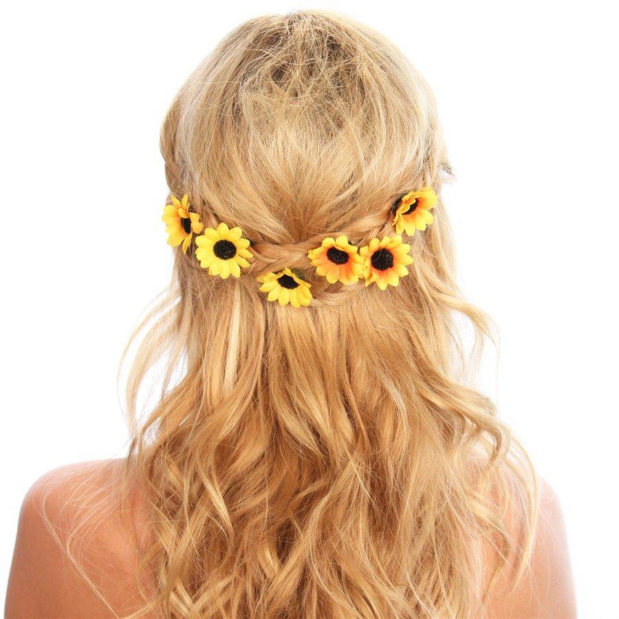 sunflower hair clips beauty