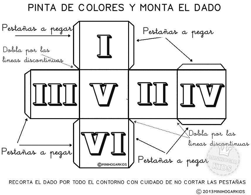 dado+numeros+romanos+colorear.jpg 856 × 665 pixels | elementary 9-12 ...