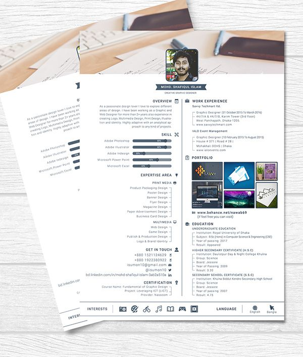 1 Page Resume Extraordinary Free One Page Resume Template  Graphic Design  Pinterest .