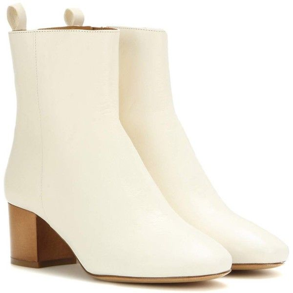 Isabel Marant Étoile Drew Leather Ankle Boots (2.095 BRL) ❤ liked on Polyvore featuring shoes, boots, ankle booties, isabel marant, white, white leather boots, ankle boots, short boots, white bootie and leather ankle booties