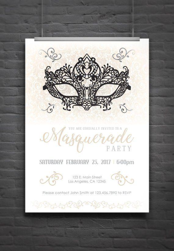 Masquerade Party Invitation (light version) - Digital File ...
