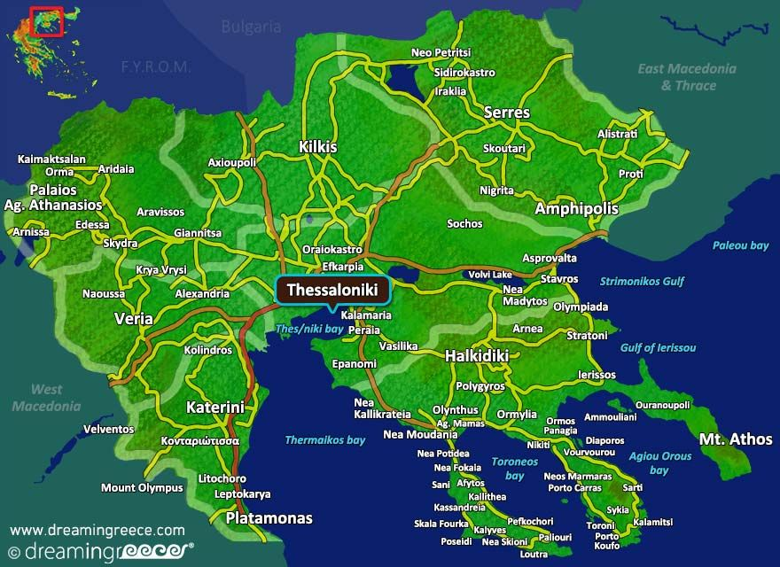 Thessaloniki Map Greece. Central Macedonia. #dreamingreece
