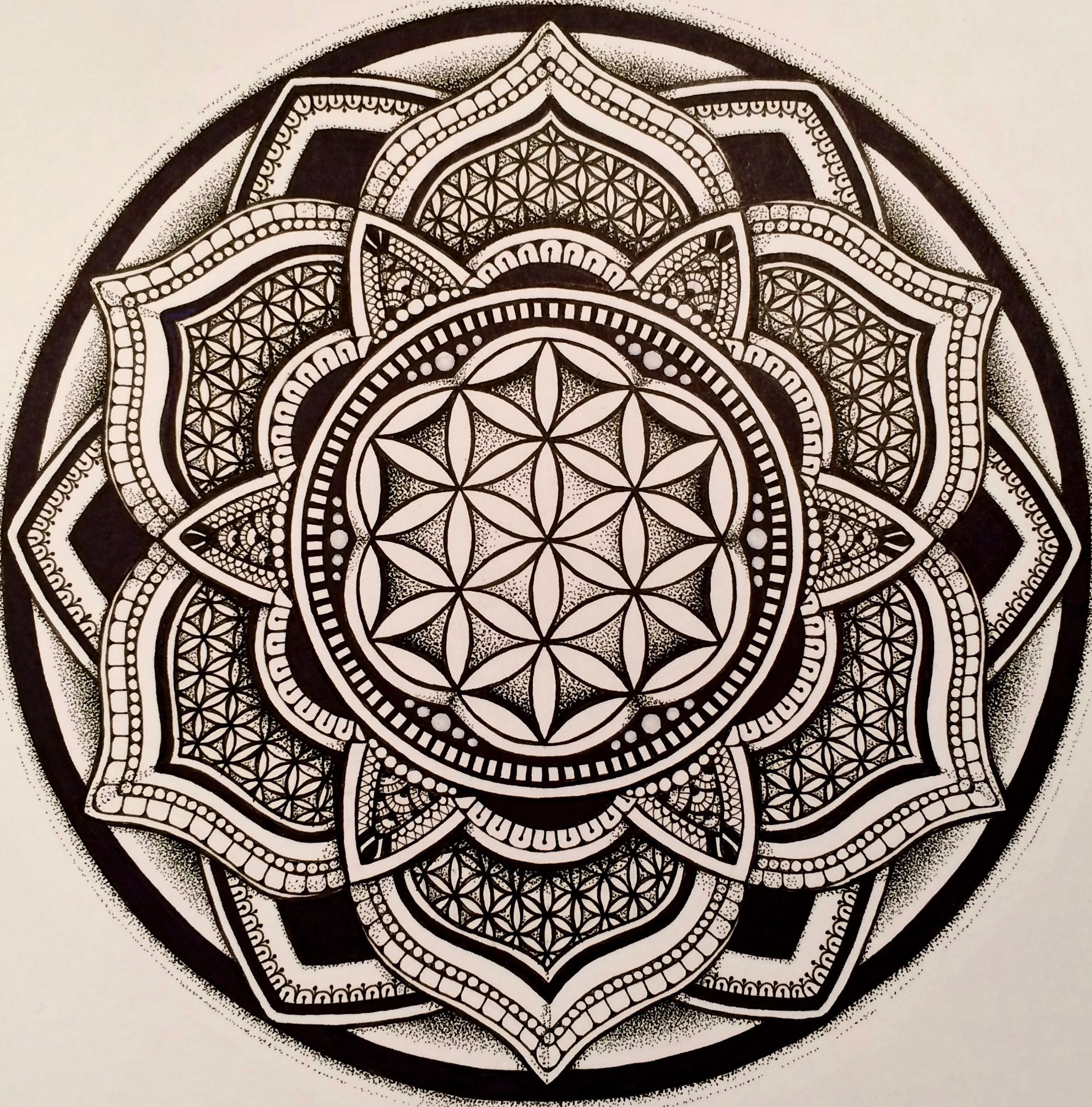 Flower of Life Mandala by Kristy Marie Thomas. (With
