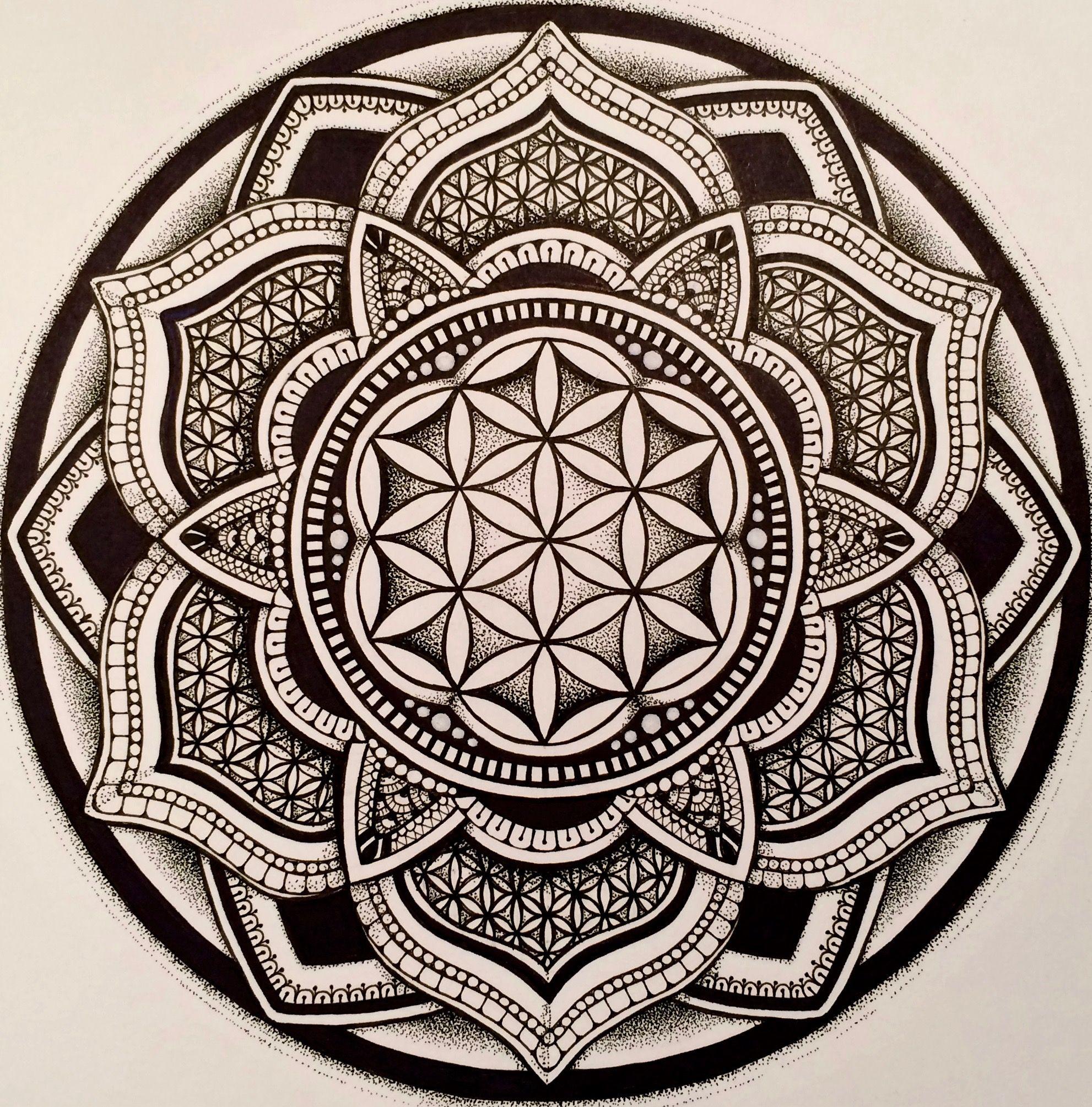 Flower Of Life Mandala By Kristy Marie Thomas Mandalas