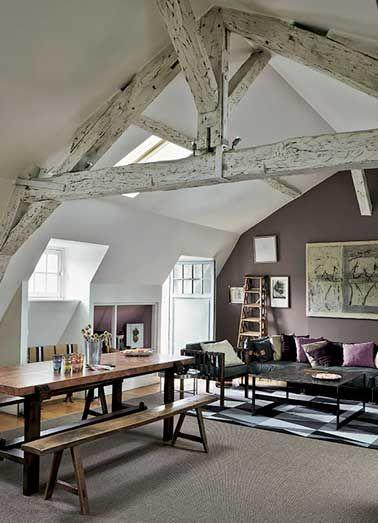 Peinture 6 couleurs d co pour un salon super chic farmhouse architecture pinterest - Decoration peinture combles ...