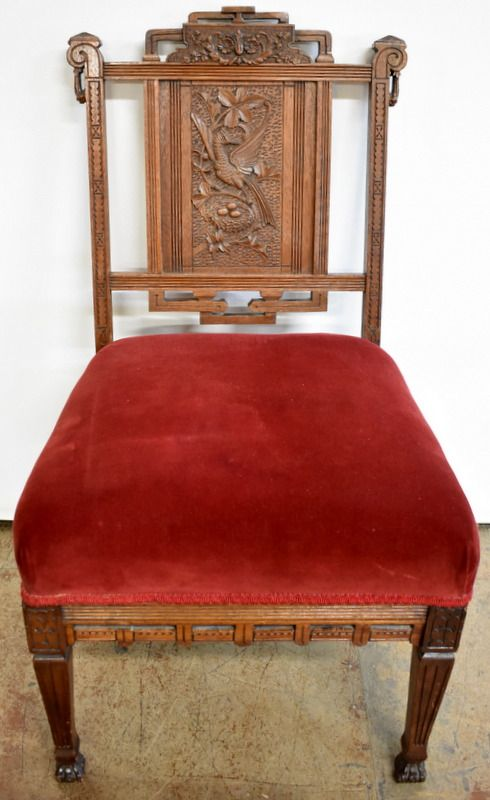ORNATELY CARVED VICTORIAN PARLOR CHAIR Parlor Chair Is Made Of Walnut And  Ornately Carved With An Asian And Bird (pheasant) Motif. It Has A Velvet U2026