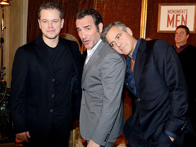 LEAN ON ME | George Clooney, Jean Dujardin, Matt Damon at the Hotel Le Bristol Paris on Wednesday (2/12/14) for the photocall for Monuments Men