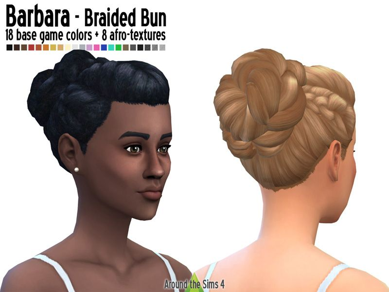 Around The Sims 4 Braided Bun With For Straight And Afro Hair