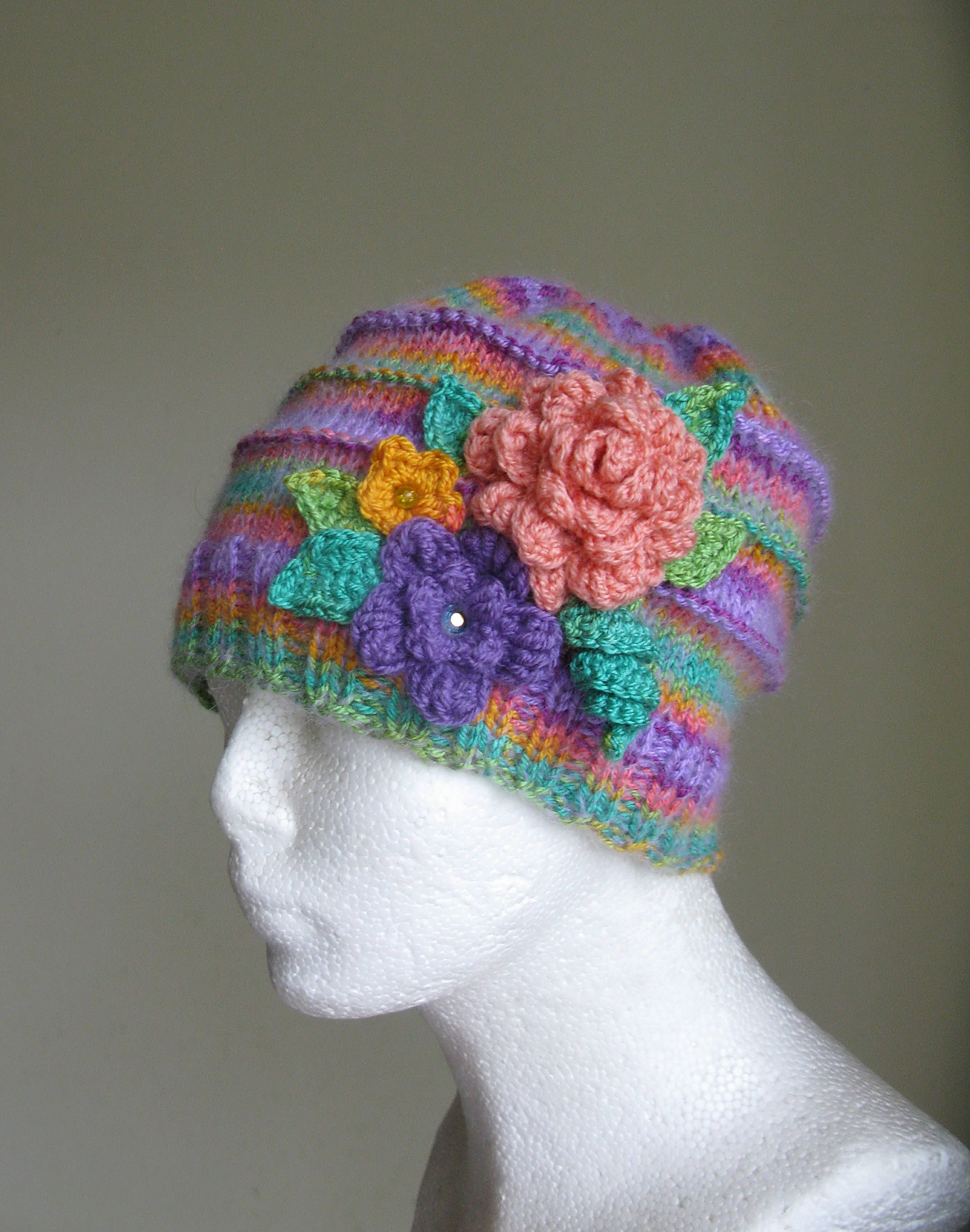 902b66d3af7  Knit  Girls  Hat with Flowers  Multicolor  Spring Children s  HandMade Knitted  Hat Knit Accessories Multi colored Warm Hat Girls Gifts  Etsy