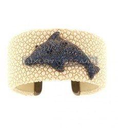 de Grisogono Stylish 18K Blackened White Gold Bijoux Galuchat Collection Gemstone Cuff Bracelet
