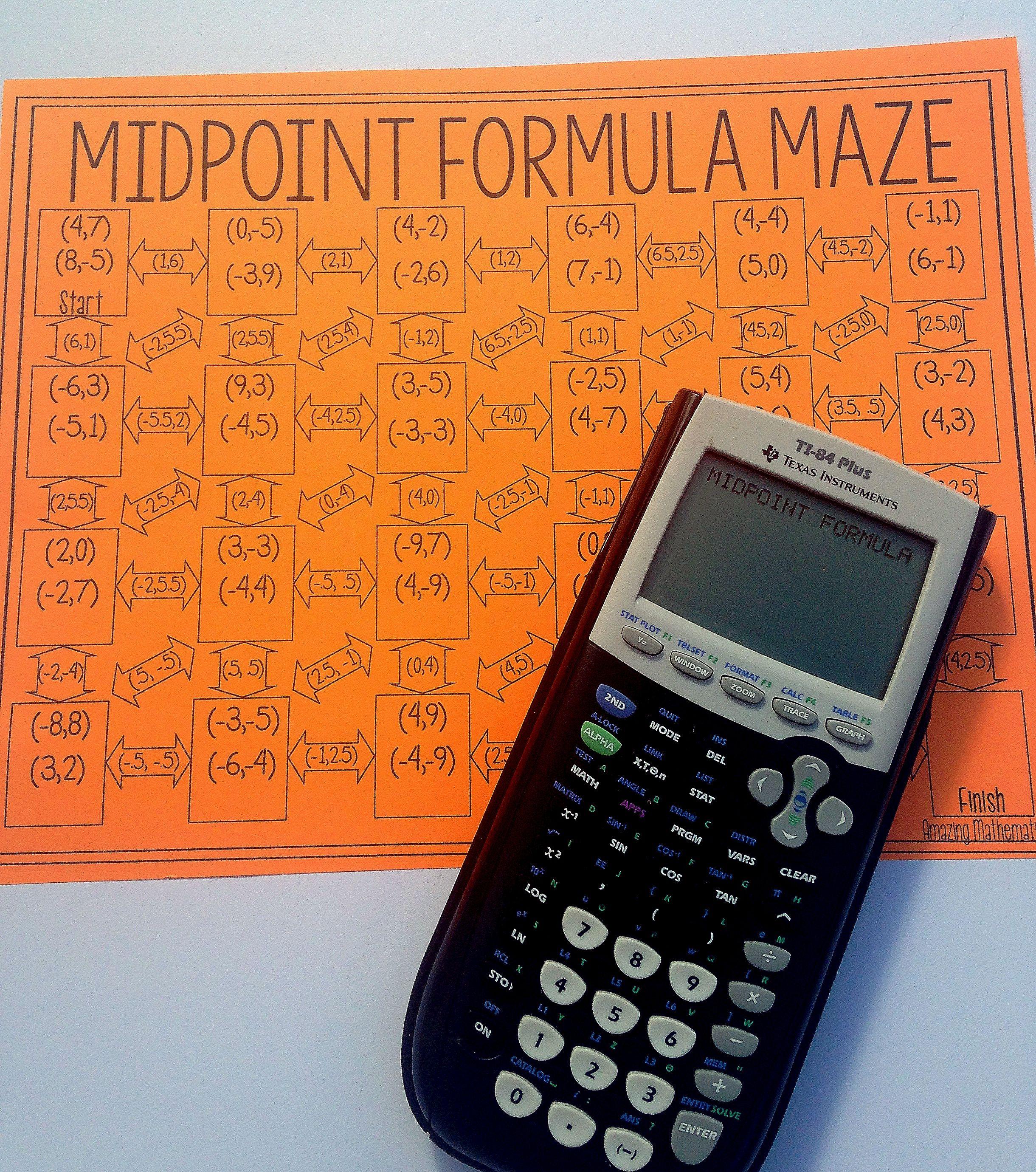 Midpoint Formula Maze Worksheet