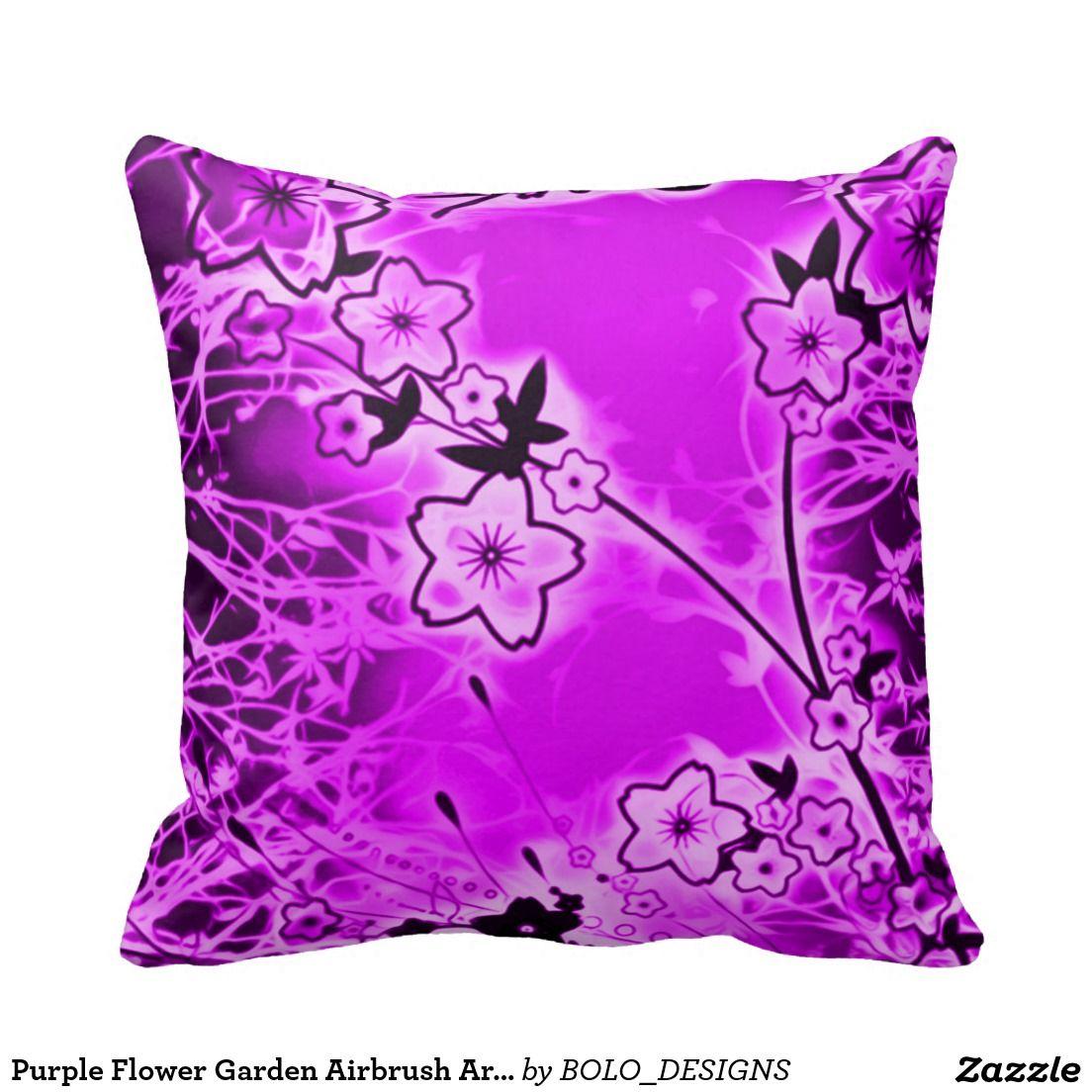 Purple Flower Garden Airbrush Art Throw Pillow